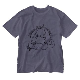 冒涜的な猫ルフ(背中色なし) Washed T-shirts