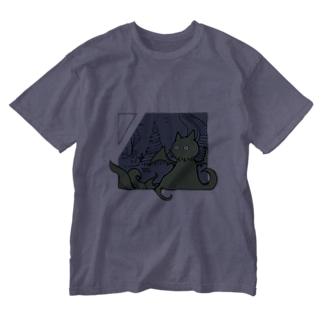 冒涜的な猫ルフ(色付き) Washed T-shirts