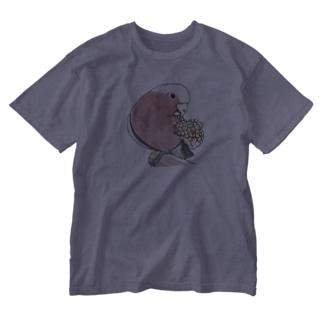 モモイロインコちゃんとトウモロコシ【まめるりはことり】 Washed T-shirts