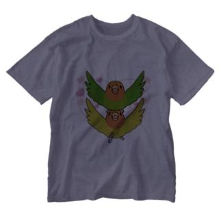 ラブリーコザクラインコ【まめるりはことり】 Washed T-shirts