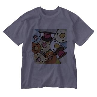 みっちりむっちり過密鳥まみれさん【まめるりはことり】 Washed T-shirts
