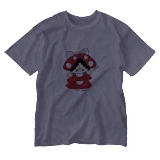 赤いキノコちゃん Washed T-shirts