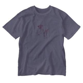 【赤ドット】猫功夫(猫カンフー)  Washed T-shirts