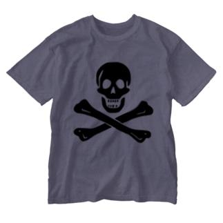 海賊旗スカル-Jolly Roger サミュエル・ベラミーの海賊旗-黒ロゴ Washed T-shirts