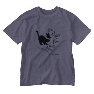 アズールブルーの黒猫 Washed T-shirts