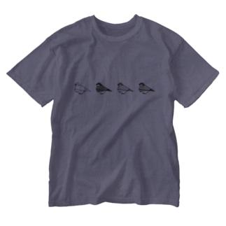 折り紙風文鳥 Washed T-shirts