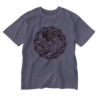 にゃーにゃーぐるぐる Washed T-shirts