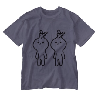 みつあみしたい うさぎ モノクロ Washed T-Shirt