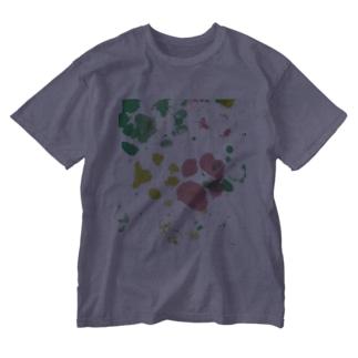 保護犬足跡柄グッズ Washed T-Shirt
