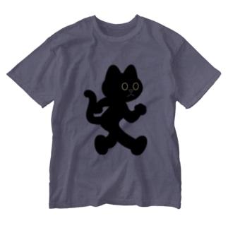 飛び出し坊や猫 黒猫 Washed T-shirts