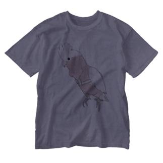 ご機嫌モモイロインコちゃん【まめるりはことり】 Washed T-shirts
