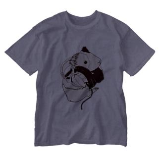 ヘッドフォンモルモットセピア Washed T-shirts