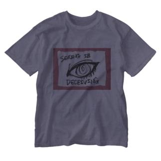 偽諺~参~「百聞は一見に如く」(赤縁) Washed T-shirts