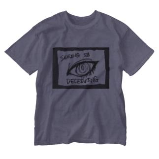 偽諺~参~「百聞は一見に如く」(黒縁) Washed T-shirts