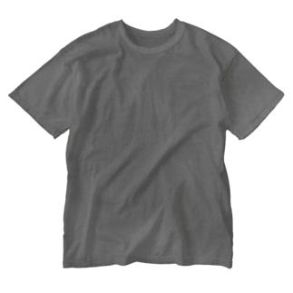 もじゃまる茫然 白 Washed T-shirts