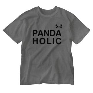 PANDAHOLIC2 Washed T-shirts