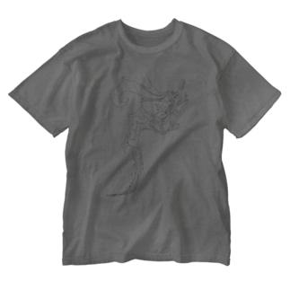 ドラゴン3塗り絵デザイン Washed T-shirts