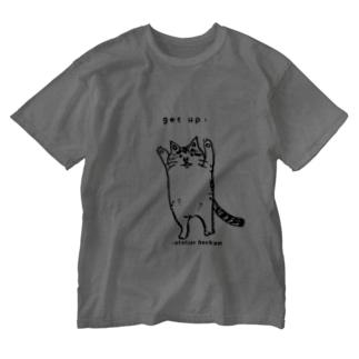ほっかむねこ屋(アトリエほっかむ)のたちあがるねこ Washed T-shirts