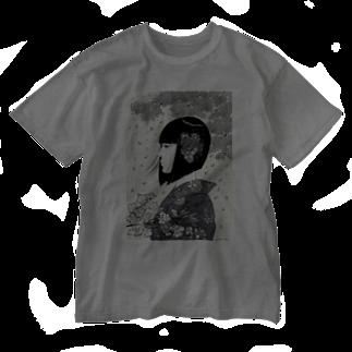 ?の春の女 モノクロver. Washed T-shirts