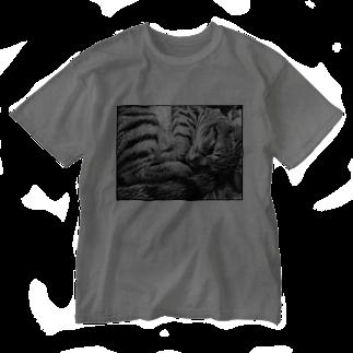 古春一生(Koharu Issey)の微睡みのR(白) Washed T-shirts