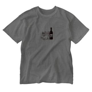 ワインスタンドポンのポンちゃん Washed T-shirts