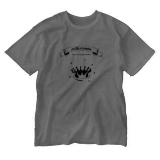 いときち化学のミルククラウン Washed T-shirts