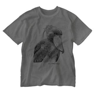 ハシビロコウ モノクロ ウォッシュT フロントプリント Washed T-shirts