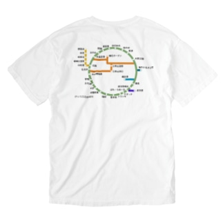 伊豆大島道路線図 Washed T-shirts