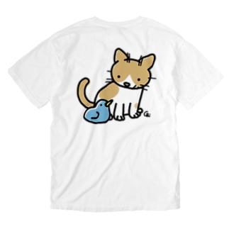 とりとねこ Washed T-shirts