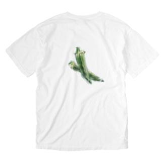 ベジタブルT(オクラ) Washed T-shirts