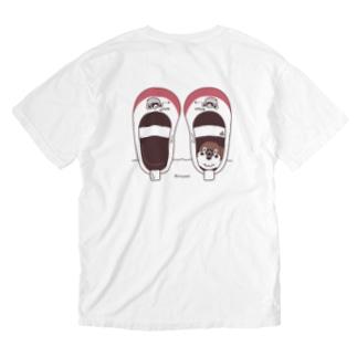 バックプリント*CT165 スズメがちゅん*うわばきちゅんA*イラストサイズ大きいver Washed T-shirts