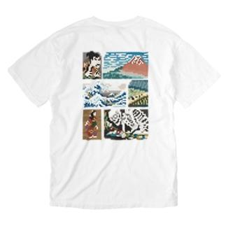 【バックプリント】 ドット浮世絵 Washed T-shirts