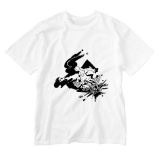 あけたらしろめ「絵」 Washed T-shirts