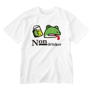 non-drinker カエルゲコ下戸 舌あり Washed T-shirts
