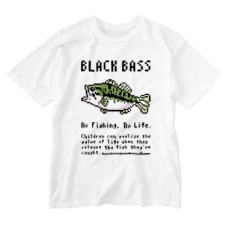 (釣りざんまい) ドット絵のブラックバス Washed T-shirts