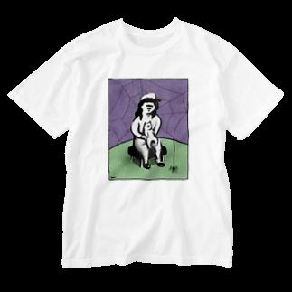 グラピンコの蜘蛛と猫 Washed T-shirts
