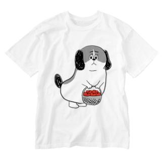 もじゃまるお見舞い 白黒 Washed T-shirts