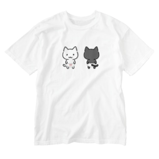ちびねこぱんつしろねこくろねこ Washed T-shirts