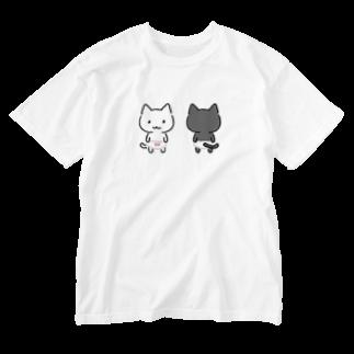 ねこぱんつのちびねこぱんつしろねこくろねこ Washed T-shirts