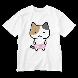 ねこぱんつのみけぱん Washed T-shirts