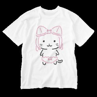 ねこぱんつのねこぶらちゃん Washed T-shirts