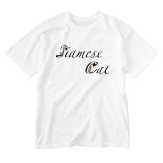 シャム猫文字 Washed T-shirts
