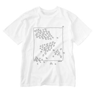 水中ニワトリ Washed T-shirts