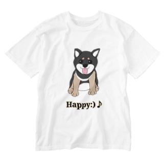 うるうる黒柴犬ちゃん 英語ロゴ Washed T-shirts