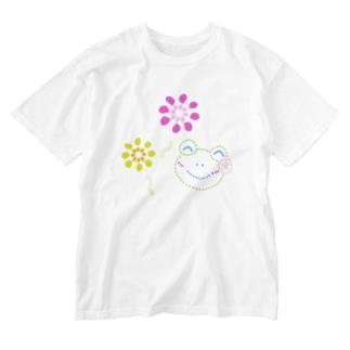花火とかえるさん Washed T-shirts