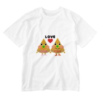 ピザくんとピザちゃん Washed T-shirts