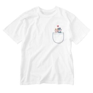 ぽっけに狼ちゃん Washed T-shirts