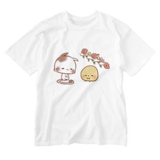 ほのぼのねこさんとぴよみさん Washed T-shirts