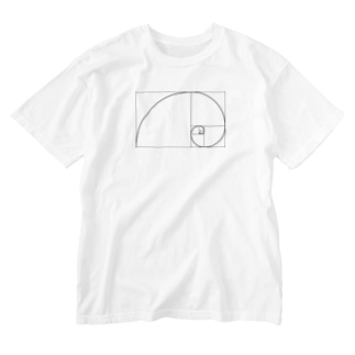 フィボナッチ数列左巻き Washed T-shirts