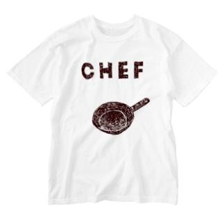 料理当番の方用「シェフ」 Washed T-shirts